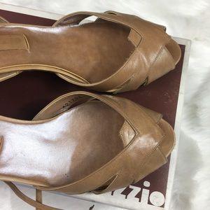 Palizzio Shoes - Vintage Tan Ankle Tie Open Toe Heels 7.5B